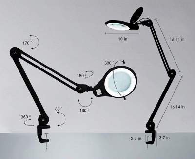 magnifying glass with light and stand and clamp