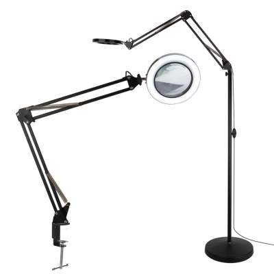 free standing magnifying glass with light